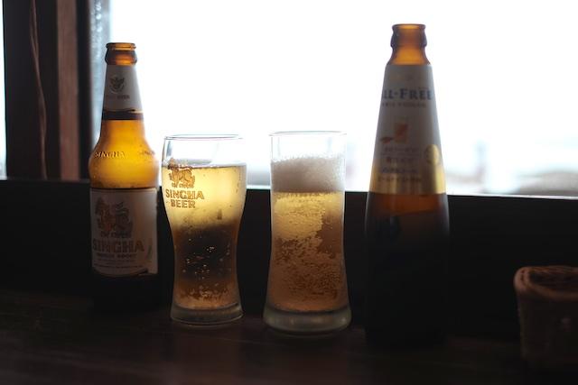 まずはビールで!私はノンアルコールですが…