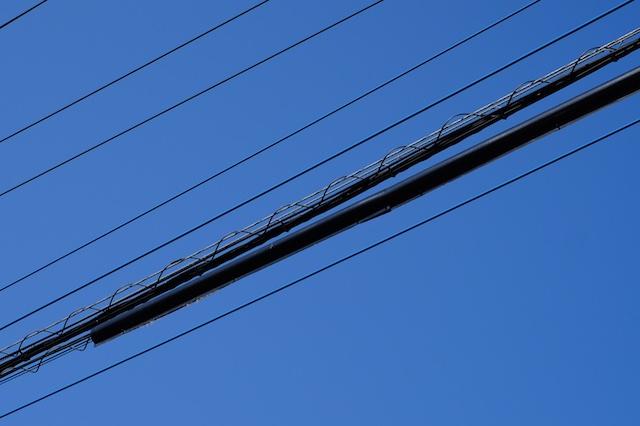 店の真上の電線が巣!